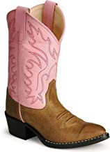Old West Pink Childrens Girls Canyon Leather Round Toe Cowboy Boots