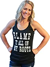 Tough Little Lady Womens Country Graphic Blame it All on My Roots Black Tank