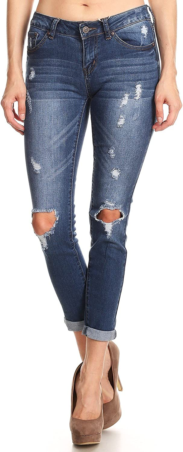 Wax jean Women's Low Rise Distressed Denim Skinny Jeans