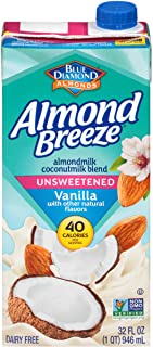 Sponsored Ad - Blue Diamond Almonds Breeze Dairy Free Almondmilk Blend, Unsweetened Vanilla Coconut, 32 Ounce (Pack of 12)...
