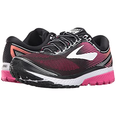 Brooks Ghost 10 (Black/Pink Peacock/Living Coral) Women