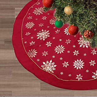 FLASH WORLD Xmas Tree Skirt,48 inches Large Christmas Tree Skirts with Snowy Pattern for Christmas Tree Decorations (Red, Light Gold hot Stamping)