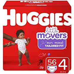 Huggies Little Movers Diapers, Size 4 (22-37 lb.), 56 Ct, Big Pack (Packaging May Vary)