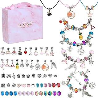 Kit de Fabrication de Bracelet, 65 pcs Kit de fabrication de bracelets à breloques avec Pendentifs Chaînes Perles, Kit Bij...