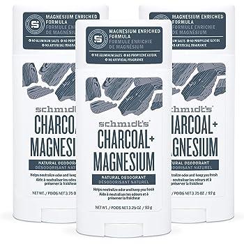 Schmidt's Aluminum Free Natural Deodorant for Women and Men, Charcoal + Magnesium 24 Hour Odor Protection, Certified Cruelty Free, Vegan Deodorant, 3.25 oz 3-pack