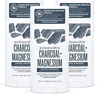 Schmidt's Aluminum Free Natural Deodorant for Women and Men, Charcoal + Magnesium 24 Hour Odor Protection, Certified Cruel...