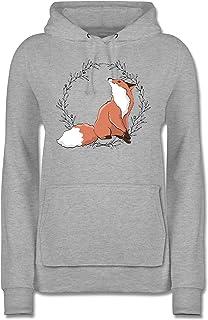 Sonstige Tiere - Fuchs mit Blumenkranz - Damen Hoodie und Kapuzenpullover für Frauen