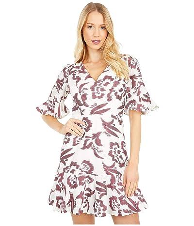Rebecca Taylor Short Sleeve Amea Ruffle Dress (Snow/Spice) Women