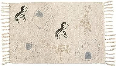 Mud Pie Cotton Safari Animals Nursery Decor Throw Rug, Black/White