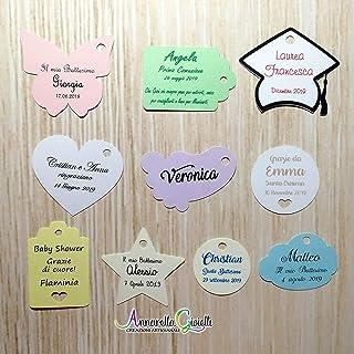 Cartellini per bomboniera personalizzati, varie misure, vari colori, a partire da 20 pezzi, matrimonio, bigliettini, etich...