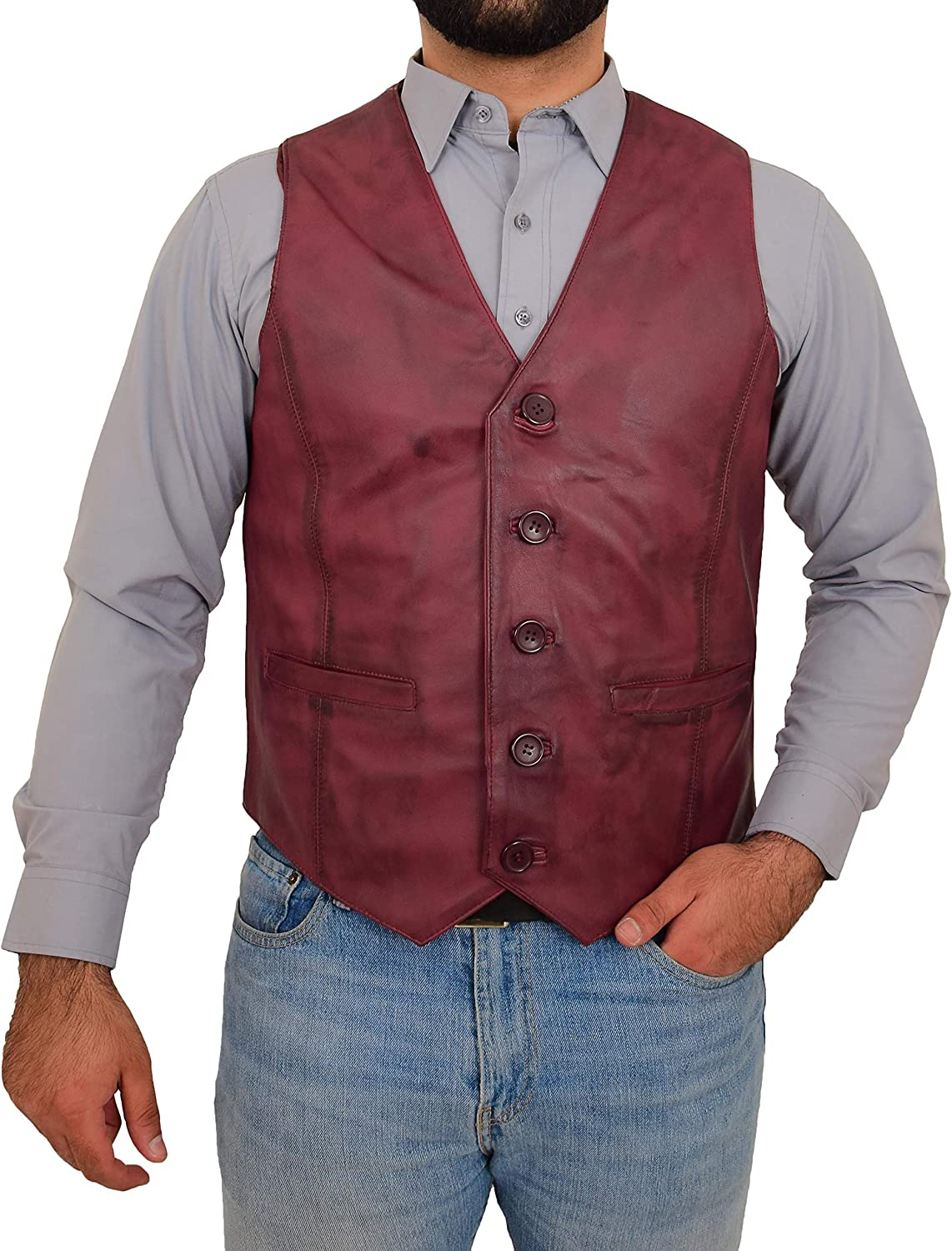 Mens Traditional Leather Waistcoat Button Fastening Vest Nick Burgundy