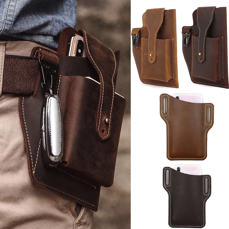 GFSFG Leather Cell Phone Holster Men Universal Case Waist Bag Sheath with Belt Loop for iPhone 13,Samsung (Dark Brown)