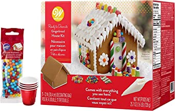 Gingerbread House Kit - Pre-assembled & Ready to Decorate Petite Traditional House - Includes 4 types of candies, white icing, (4) SEWANTA Candy Holders