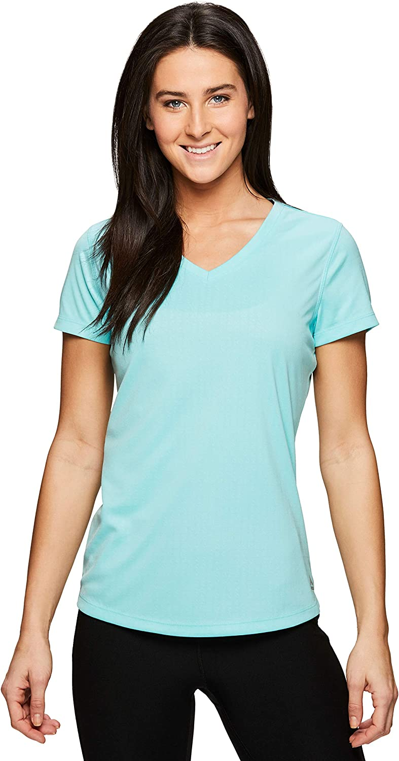 RBX Active Women's Space Dye Short Sleeve VNeck Tee Shirt