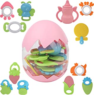 Top Right Toys Baby Rattle Gift Set, 11 Piece Babies First Teething Toy Playset, for Infants and Babies