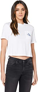 Calvin Klein Jeans Women's Cropped Monogram Off Placement Sweatshirt, Bright White/Surf The Web