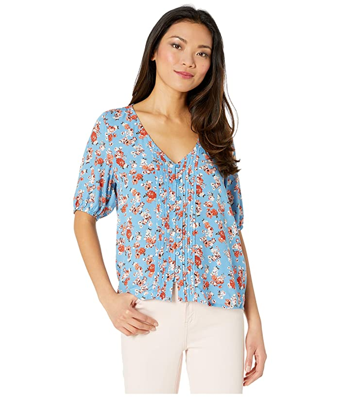 Lucky Brand  Short Sleeve Scoop Neck Floral Printed Pin Tuck Top (Blue Multi) Womens Clothing