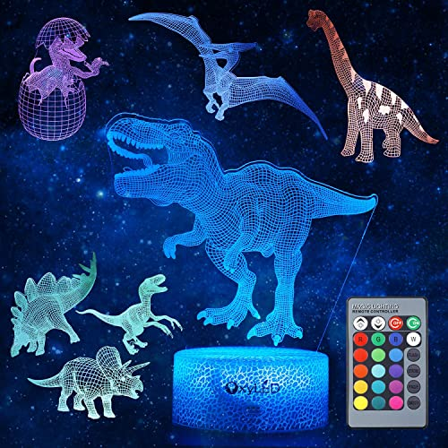 Dinosaur Night Light for Kids, 3D Dinosaur Toys (5 Patterns) Dimmable with Remote Control & 16 Colors Changing & Smar...
