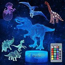 Oxyled nachtlampje voor kinderen, 5 stuks 3D-nachtlampje met 7 patronen en 16 kleuren, dimbare decoratieve lamp met afstan...