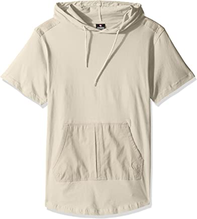 Southpole Men's Short Sleeve Hooded Scallop Tee with Fine Twill Detail