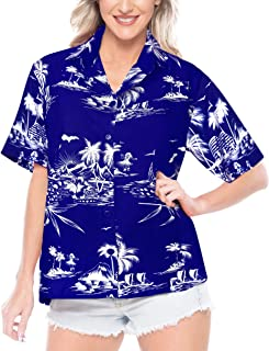 LA LEELA Women's Hawaiian Regular Fit Short Sleeve Tunic Blouse Shirt 3D Printed