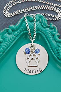 Personalized Pet Paw Necklace - Custom Dog Name, Birthstone Crystals - Pawprint Charm - Handstamped 1 Inch Disc - DII ABC
