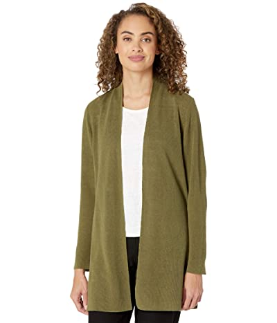 Eileen Fisher Organic Linen Cotton Long Cardi (Olive) Women