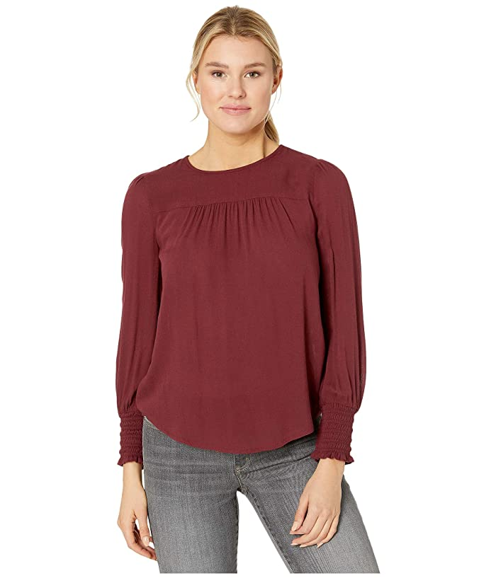 Lucky Brand  Smocked Cuff Top (Tawny Port) Womens Clothing