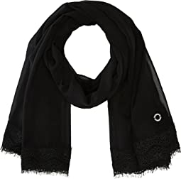 Wide Lace Trim Poly Chiffon Scarf