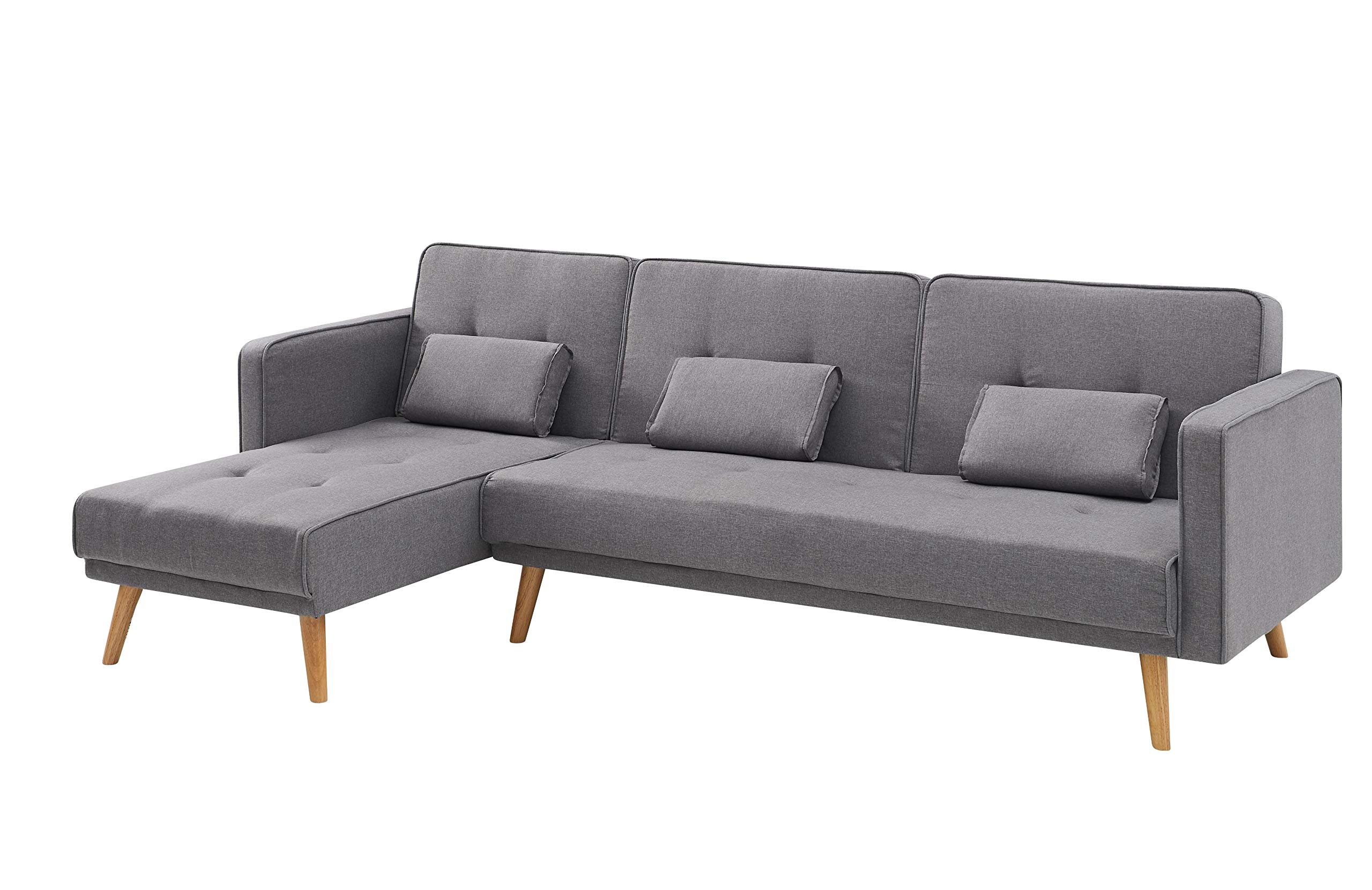 L Shaped 3 Seater Sofa Bed & Chaise with Armrests & Cushions