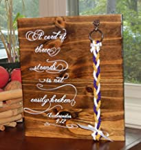 Cord of Three Strands, Wood Sign, Rustic Wedding Ideas, Gods Knot, Religious Wall Decor 14X12 inches