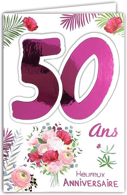 Carte d'Anniversaire pour 50 ans à imprimer gratuit