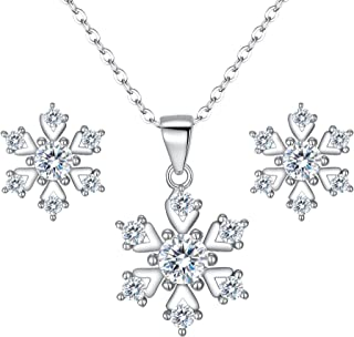 Clearine Women 925 Sterling Silver Cubic Zirconia Snowflake Shape Pendant Necklace Stud Earrings Set Clear