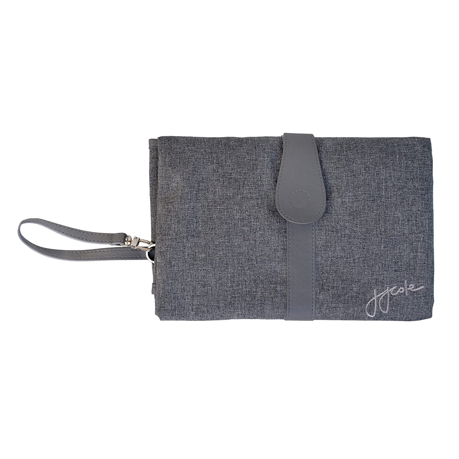 JJ Cole Portable Diaper Changing Clutch with Wipeable Diaper Changing Pad, Gray Heather