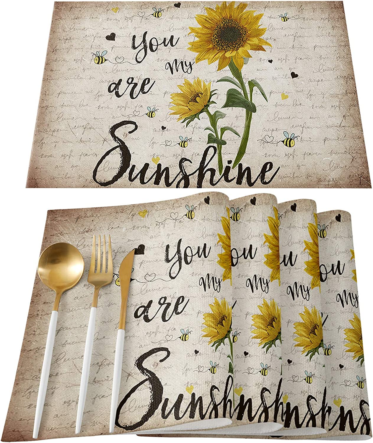 Artwork Store Sunflower Placemats Set of 6, Cotton Linen Heat Resistant Table Mats Non-Slip Washable Vintage Sunflower Bees You are My Sunshine Placemat for Holiday Banquet Dining Table Kitchen Decor