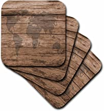 3dRose CST_205047_3 Print of Map of World on Wood Ceramic Tile Coasters (Set of 4)