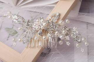 SNOWH Wedding Hair Accessories for Women Pearl Bridal Hair Comb Rhinestone Hair Clips Handmade Headpieces for Brides Bridesmaid, Silver