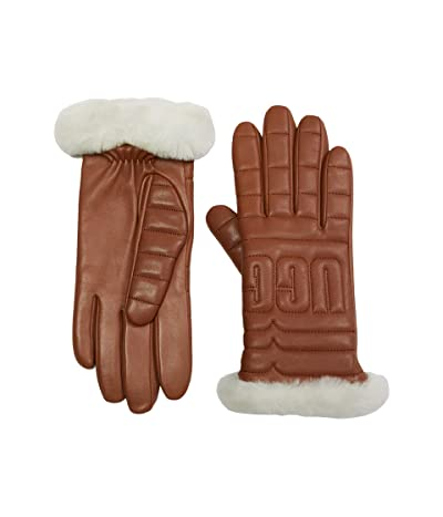 UGG Leather Quilted Logo Gloves with Conductive Tech Palm (Chestnut) Extreme Cold Weather Gloves