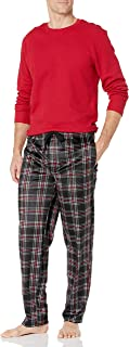Chaps Men's Waffle Crew Top with Lite Touch Fleece Pant Set
