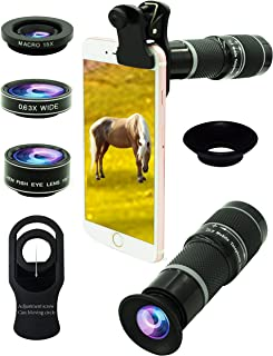 Cell Phone Camera Lens Kit,5 in 1 Lens Kit-High Power 20X Monocular Telephoto Lens, Wide-Angle, Macro, fisheye, Eye mask, Telescope Mobile Zoom Compatible iPhone Samsung Android Smartphones