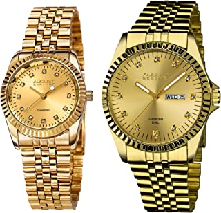 August Steiner AS8201 His and Hers Watch Set - Two Matching Men's and Women's Watches - Stainless Steel Link Bracelet Band...