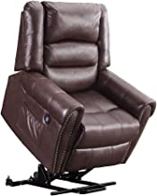 Electric Power Lift Recliner Chair Dual TUV Motor Infinite-Positions Lay Flat Sleeper Faux Leather Lounge w/Remote Control Dual USB Charging Ports 7298 (Dark Brown)