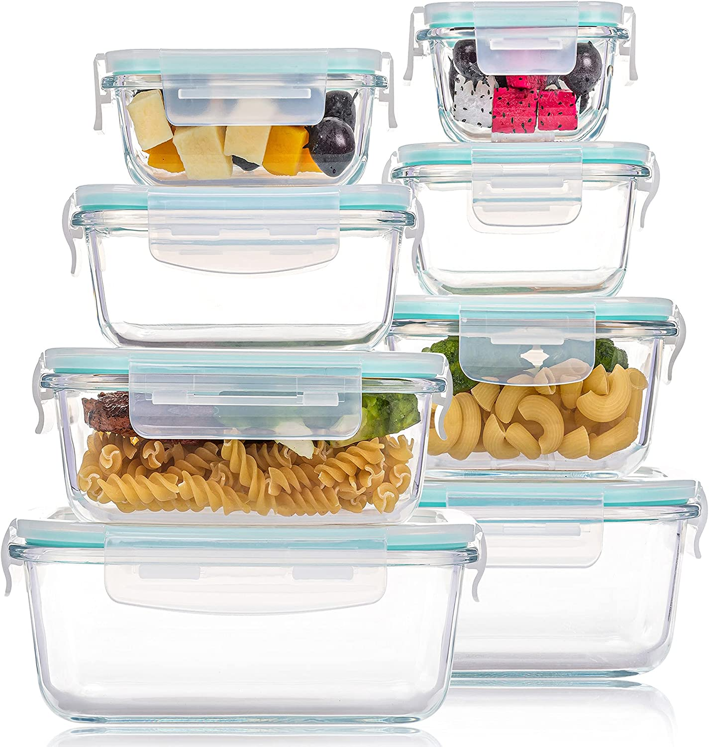 8 Pack Glass Food Storage Containers with Lids, Vtopmart Glass Meal Prep Containers, Airtight Glass Bento Boxes with Leak Proof Locking Lids, for Microwave, Oven, Freezer and Dishwasher