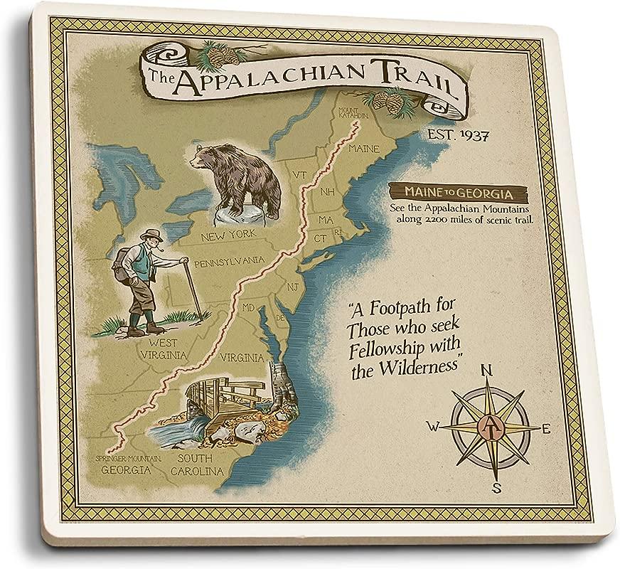 Lantern Press Appalachian Trail Map Set Of 4 Ceramic Coasters Cork Backed Absorbent