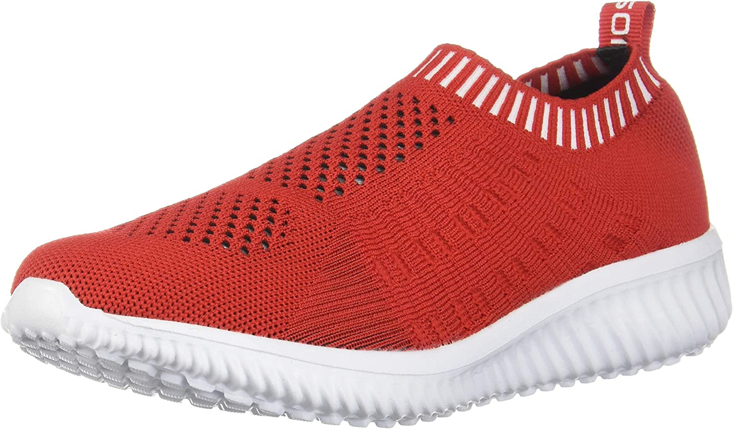 Konhill Women's Lightweight Casual Walking Athletic shoes Breathable Mesh Running Slip-On Sneakers, Red,39