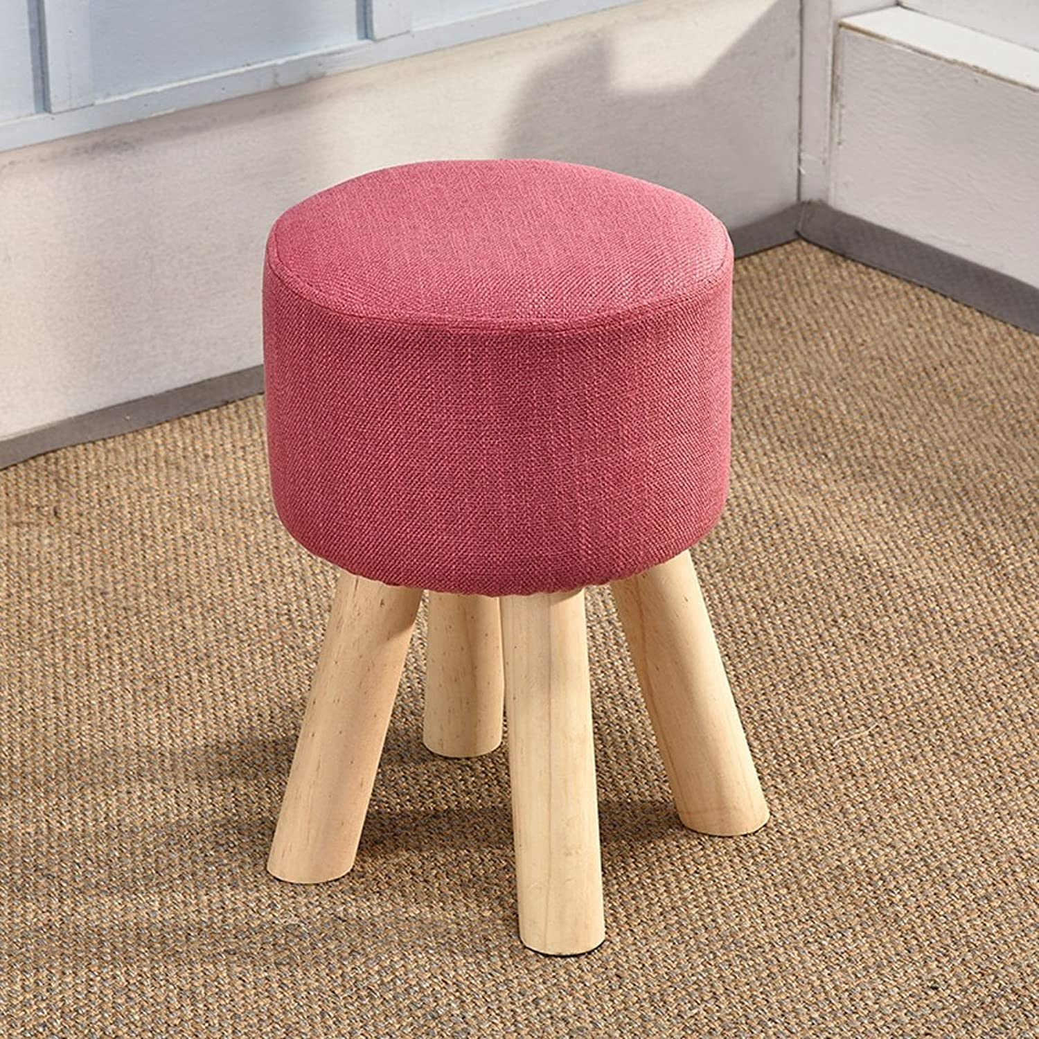 SXHDMY High Chair Living Room shoes Stool Cloth Stool Wood Coffee Table Stool 28x28x40CM Stool (color   pink Red)