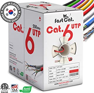 fastCat. Cat6 Ethernet Cable 1000ft - Insulated Bare Copper Wire Internet Cable with Noise Reducing Cross Separator - 550MHZ / 10 Gigabit Speed UTP LAN Cable 1000 ft - CMR (Red)