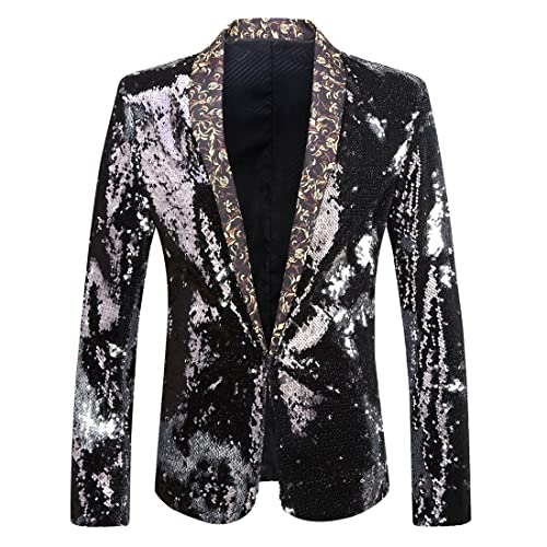 25a01aa21e38b9 PYJTRL Men Stylish Two Color Conversion Shiny Sequins Blazer Suit Jacket