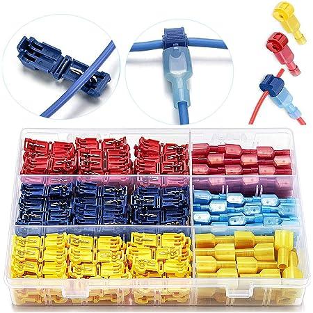 Conector Rama para Cable de Conexi/ón R/ápida 60 Pares T-Tap Empalme R/ápido con Conectores Macho Spade Aislado R/ápido Terminales de Empalme Crimp YUEMING 120 Piezas T-Tap Cable Conectores Kit