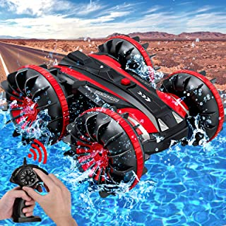 Amphibious RC Car for Kids Rotate 360° Spins & Flips, 2.4 GHz 4WD Amphibious Remote Control Car Boat RC Monster Truck Stun...